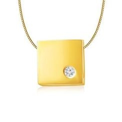 MBLife.com - Left Right Accessory - 9K/375 Yellow Gold Polish Finish Square Cube Diamond Necklace 16' (0.006 ct)