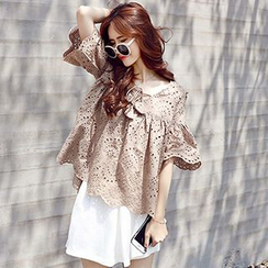 Ashlee - Short-Sleeve Lace Cut Out Top