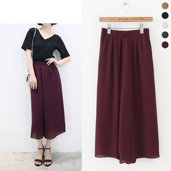 HotBlock - Cropped Wide Leg Chiffon Pants