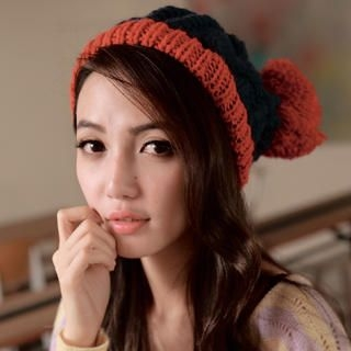Cuteberry - Color-Block Pompom Cable Beanie