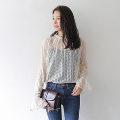 WITH IPUN - Slit-Cuff Sheer Lace Top