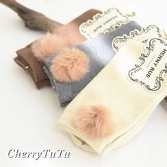 櫻桃兔兔 - 毛毛球襪