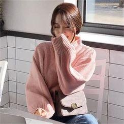 QNIGIRLS - Mock-Neck Balloon-Sleeve Sweater