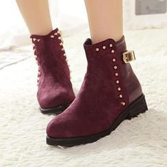 Mancienne - Studded Buckled Ankle Boots