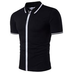 Fireon - Contrast Trim Zip-Up Short-Sleeve Polo Shirt