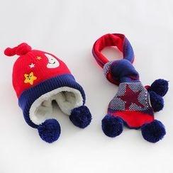 JIMIJIMI - 嬰兒套裝: 毛毛球無邊帽 + 圍巾