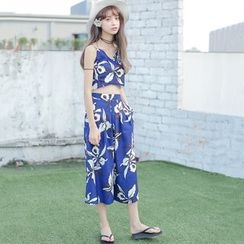 Everies - Set: Printed Camisole Top + Cropped Wide Leg Pants