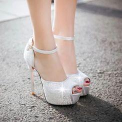 錦洋鞋業 - 亮面踝帶露趾高跟鞋