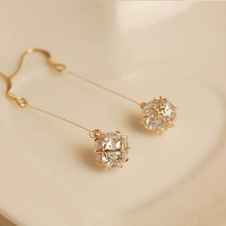 Love Generation - Rhinestone Drop Hook Earrings