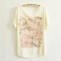 LULUS - Rose-Print Loose-Fit T-Shirt