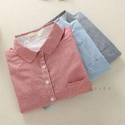 Mushi - Pinstriped Long-Sleeve Blouse