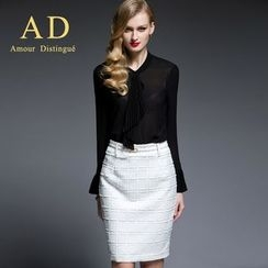 Aision - Pleated Chiffon Blouse / Pencil Skirt