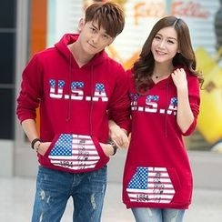 Lovebirds - Couple Matching Hooded Print Pullover