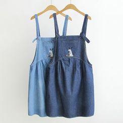 gabrielle - 小鼠刺繡背帶牛仔褲連衣裙