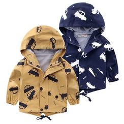 lalalove - Kids Car Print Hooded Jacket
