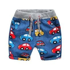 lalalove - Kids Car Print Denim Shorts
