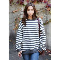 DEEPNY - Brushed-Fleece Lined Striped Sweatshirt
