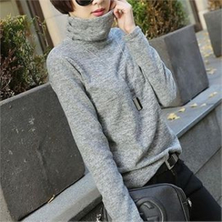 CHICFOX - Turtle-Neck Long-Sleeve Top