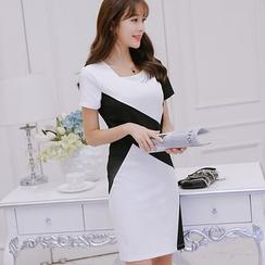 Nyssa - 修身拼接短袖连衣裙