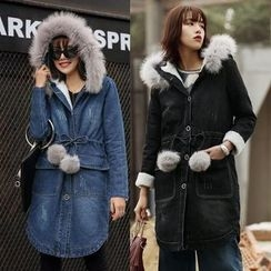 AiSun - Furry Hooded Long Denim Jacket
