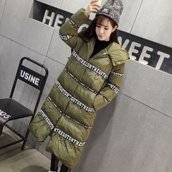 Honeydew - Lettering Applique Hooded Long Padded Coat