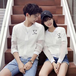 Evolu Fashion - Print Couple Matching Light Zip Jacket