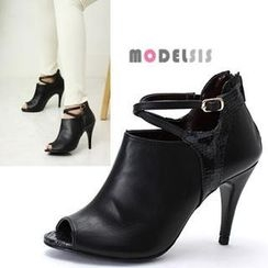 MODELSIS - Genuine Leather open-Toe Color-Block Ankle Boots
