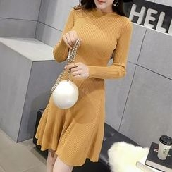 Honeydew - Plain Long Sleeve A-Line Knit Dress