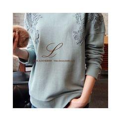 LEELIN - Lace Appliqué Pullover