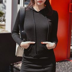 migunstyle - kangaroo-Pocket Hooded Dress