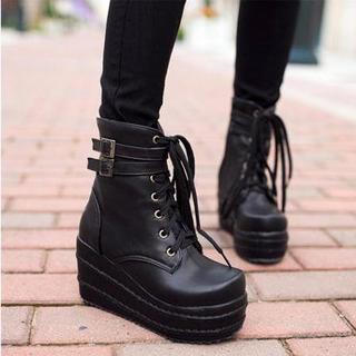 JY Shoes - Lace-Up Platform Short Boots