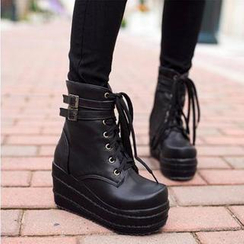 JY Shoes - Lace-Up Wedge Short Boots