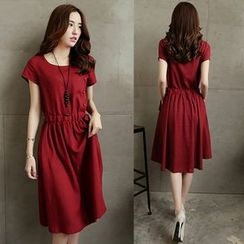 Lovebirds - Short-Sleeve Drawstring-Waist Dress
