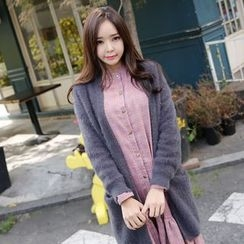 Envy Look - Wool Blend Open-Front Long Cardigan