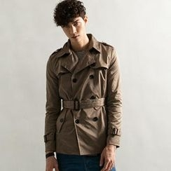 Imagine Men - Wet-Look Double-Breasted Trench Coat