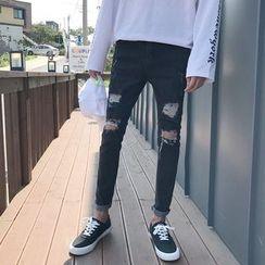 Chuoku - Distressed Slim Fit Jeans
