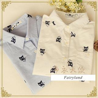 Fairyland - Long-Sleeved Cat Print Shirt