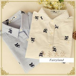 Fairyland - Long-Sleeved Cat Print Shirt