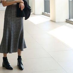 ATTYSTORY - Glen-Plaid Flared-Hem Long Skirt