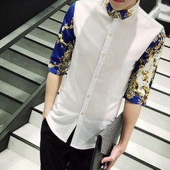 NAPO - 3/4-Sleeve Patterned Shirt
