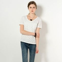 YesStyle Z - Short-Sleeved Perforated T-Shirt