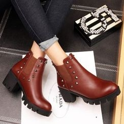 Shoes Galore - Studded Chunky Heel Ankle Boots