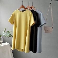 Glovon - Plain Short-Sleeve T-Shirt Dress