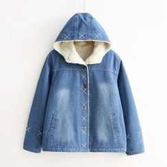 Angel Love - Fleece Lined Hooded Denim Jacket