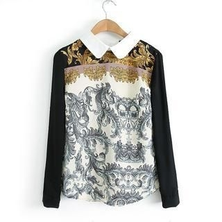 JVL - Long-Sleeve Printed Blouse