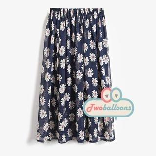 JVL - Elastic-Waist Daisy-Print Long Skirt