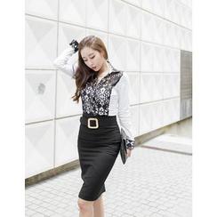 GUMZZI - Slit-Back Pencil Skirt With Belt