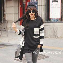 REDOPIN - Stripe-Sleeve Pullover