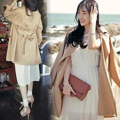 HOTPING - Epaulette-Shoulder Trench Coat With Sash