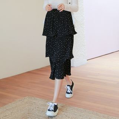 WITH IPUN - Tiered-Ruffle Dotted Midi Skirt